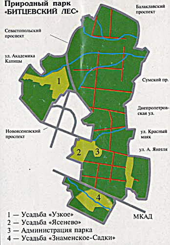 Схематически границы парка